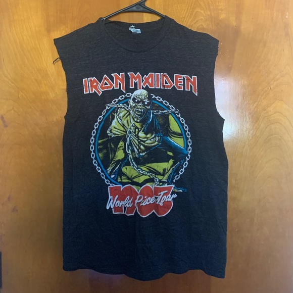 Distressed Iron Maiden Band Tank Top